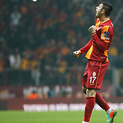 Galatasaray's Burak Yilmaz celebrate his goal during their Turkish superleague soccer derby match Galatasaray between Trabzonspor at the AliSamiYen spor kompleksi TT Arena in Istanbul Turkey on Sunday, 22 December 2013. Photo by TURKPIX