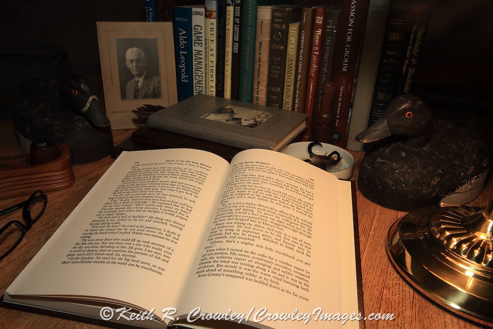 Desk still life: Reading Stories of the Old Duck Hunters & Other Drivel, by Gordon MacQuarrie. Original MacQuarrie decoys, pipe, photograph of Mr. President (aka Al Peck, aka Hizzoner)