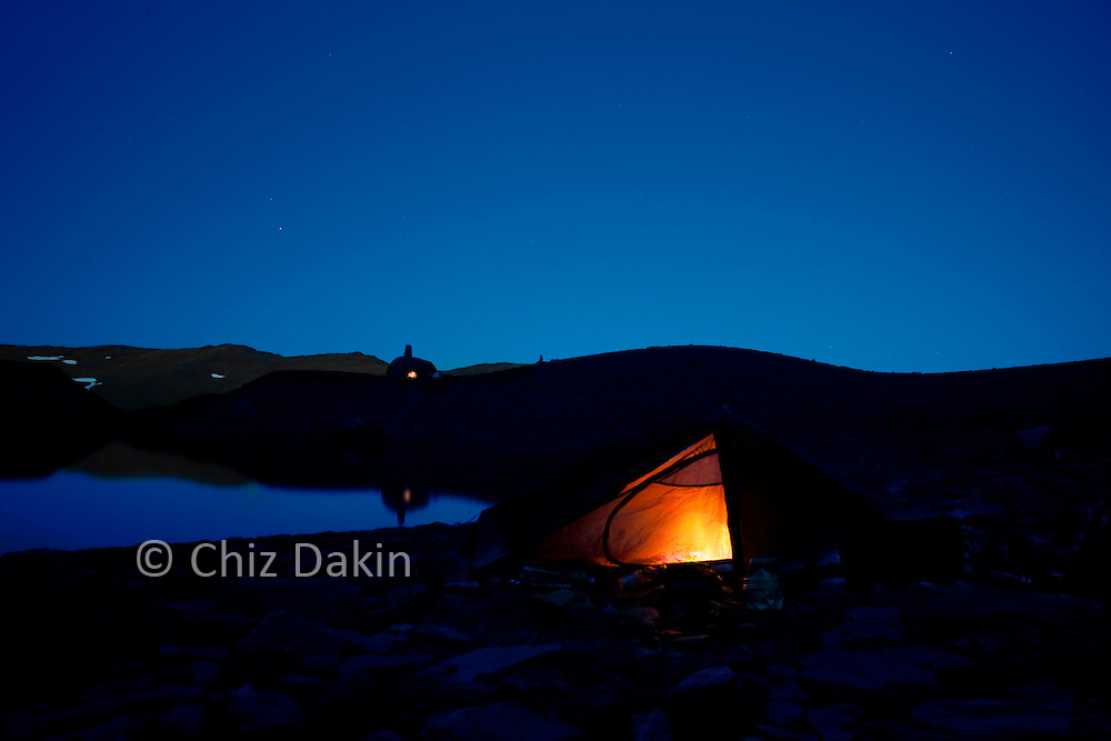 """Night shots at the """"campsite"""" can be dramatic too (El Caballo,  Spanish Sierra Nevada)"""