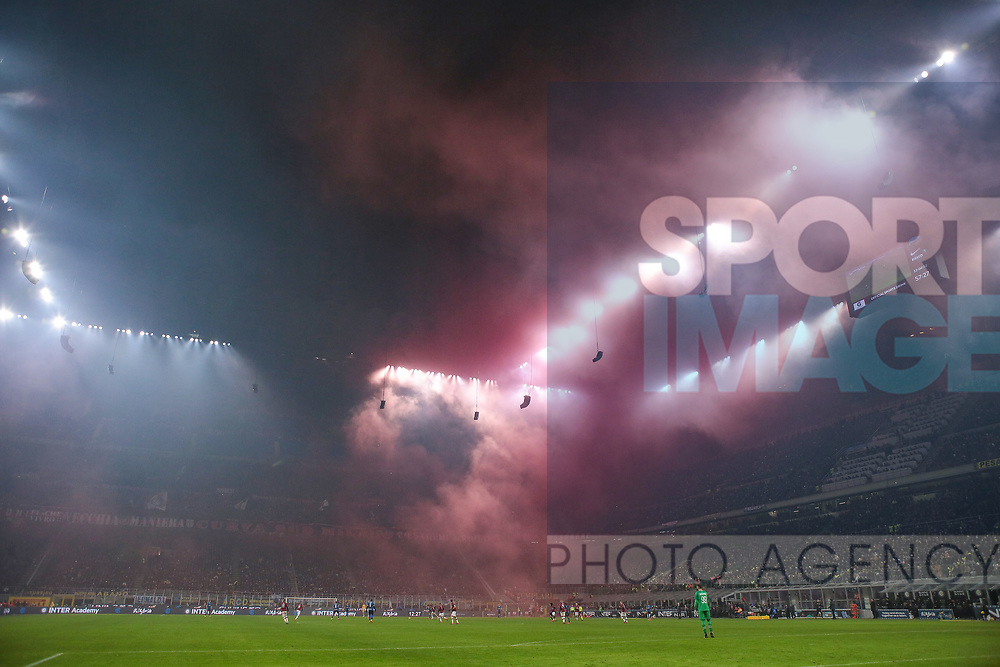A general view of the stadium after AC Milan fans lit red smoke bombs during the Serie A match at Giuseppe Meazza, Milan. Picture date: 9th February 2020. Picture credit should read: Jonathan Moscrop/Sportimage