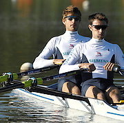 Caversham, Reading, GBRLM2X left Zac PURCHASE and Mark HUNTER, , GB Rowing Team Training at Redgrave Pinsent Lake, Engand [Credit Peter Spurrier/Intersport Images]  [Mandatory Credit, Peter Spurier/ Intersport Images]. , Rowing course: GB Rowing Training Complex, Redgrave Pinsent Lake, Caversham, Reading