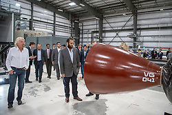 Saudi Crown Prince Mohammad bin Salman Al-Saud (center) meets with Sir Richard Branson, (left) Founder of Virgin Group, during a visit to Virgin Galactic in Mojave, California, United States of America, on April 1st, 2018. The tour is part of Saudi Crown Prince to the United States of America. Photo by Balkis Press/ABACAPRESS.COM