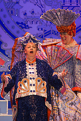 "© Licensed to London News Pictures. 05/12/2013. London, England. Pictured: Jo Brand and Matthew Kelly. The Panto Aladdin starring Jo Brand as the Genie of the Ring and Matthew Kelly as Widow Twankey opens at the New Wimbledon Theatre, Wimbledon, London. From 4 December 2013 to 10 January 2014. Further actors: the dance group ""Flawless"" as the Peking Police Force, Oliver Thornton as Aladdin, David Bedella as Abanazar, Claire-Marie Hall as Princess Jasmine. Photo credit: Bettina Strenske/LNP"