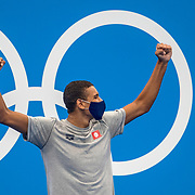 TOKYO, JAPAN - JULY 25: Ahmed Hafnaoui of Tunisia on the podium after winning the gold medal in the 400m freestyle for men final during the Swimming Finals at the Tokyo Aquatic Centre at the Tokyo 2020 Summer Olympic Games on July 25, 2021 in Tokyo, Japan. (Photo by Tim Clayton/Corbis via Getty Images)