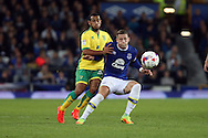 Ross Barkley of Everton shields the ball from Louis Thompson of Norwich City. Ross Barkley of Everton shields the ball from Louis Thompson of Norwich City. EFL Cup, 3rd round match, Everton v Norwich city at Goodison Park in Liverpool, Merseyside on Tuesday 20th September 2016.<br /> pic by Chris Stading, Andrew Orchard sports photography.