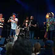 London,England,UK : 17th July 2016 : Hackey Colliery Band preforms at the Citadel Festival 2016 at Victoria Park, London,UK. Photo by See Li