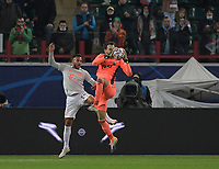 MOSCOW, RUSSIA - OCTOBER 27: Corentin Tolisso of FC Bayern Muenchen and Alvim Marinato of Lokomotiv Moskva during the UEFA Champions League Group A stage match between Lokomotiv Moskva and FC Bayern Muenchen at RZD Arena on October 27, 2020 in Moscow, Russia. (Photo by MB Media)