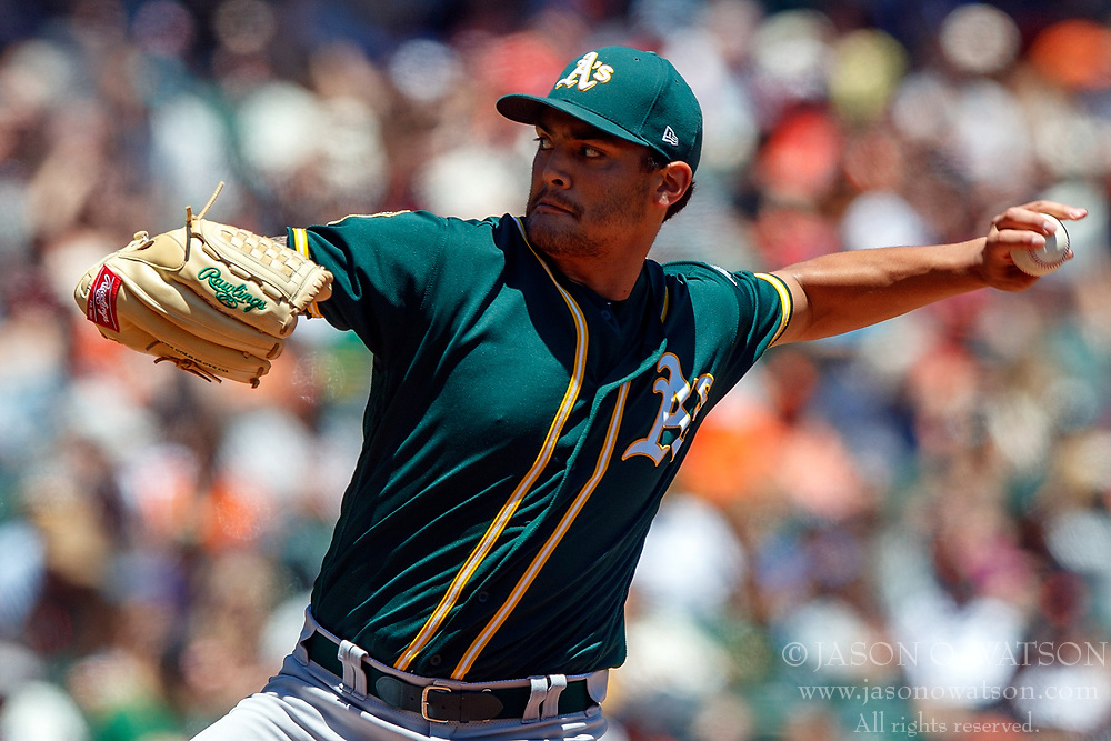 SAN FRANCISCO, CA - JULY 15: Sean Manaea #55 of the Oakland Athletics pitches against the San Francisco Giants during the first inning at AT&T Park on July 15, 2018 in San Francisco, California.  (Photo by Jason O. Watson/Getty Images) *** Local Caption *** Sean Manaea