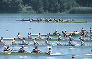 Milan ITALY,  General View of the BM8+ race GBR BM8+. <br /> Stefan EYRE,  Nicholas ROBINSON, Brian STEEL,  Nigel SARGANT, Tom BRAY, Phil SIMMONS, Alex LARGE, Mark HUSSEY and Edward COOK, 1997 Nations Cup U23  World Rowing Championships. Course, Idra Scala. Province of Milan.<br /> <br /> [Mandatory Credit; Peter Spurrier/Intersport-images] 1997 U23 Nations Cup U23 Championships. Milan Italy