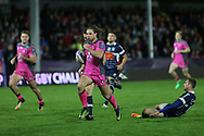 Gloucester wing Henry Purdy (14) powers his way to the line to score a try during the European Rugby Challenge Cup match between Gloucester Rugby and SU Agen at the Kingsholm Stadium, Gloucester, United Kingdom on 19 October 2017. Photo by Gary Learmonth.
