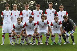 05.10.2011, Pruszkow Stadion, Wisla, POL, U 20, 4 Nations Tournament, POL vs SUI, im Bild POLSKA UNDER 20 (POLAND UNDER 20); DOLNY RZAD OD LEWEK - TOMASZ HOLOT, PAWEL LISOWSKI, MATEUSZ SZALEK, ADRIAN BLAD, JAKUB SZUMSKI; GORNY RZAD - JAROSLAW RATAJCZAK, MATEUSZ SLODOWY, RAFAL JANICKI, MICHAL ZYRO, MARCIN KAMINSKI, DAMIAN DABROWSKI. // during the 4 Nations Tournament Game, Poland vs Switzerland, at the Pruszkow Stadion in Wisla, 2011-10-05. EXPA Pictures © 2011, ..PhotoCredit: EXPA/ Newspix/ Lukasz Grochala +++++ ATTENTION - FOR AUSTRIA/(AUT), SLOVENIA/(SLO), SERBIA/(SRB), CROATIA/(CRO), SWISS/(SUI) and ..SWEDEN/(SWE) CLIENT ONLY +++++