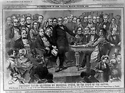Inauguration of General Zachary Taylor 1849. President Zachary Taylor giving his inaugural speech. Wilson and Company.