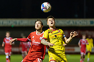 Crawley Town forward Ashley Nadesan (#10) and Walsall defender James Clarke (#5) battles fro the ball during the EFL Sky Bet League 2 match between Crawley Town and Walsall at The People's Pension Stadium, Crawley, England on 16 March 2021.