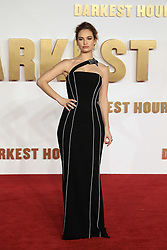 at the Darkest Hour UK Premiere at the Odeon Leicester Square in London, UK. 11 Dec 2017 Pictured: Lily James. Photo credit: MEGA TheMegaAgency.com +1 888 505 6342