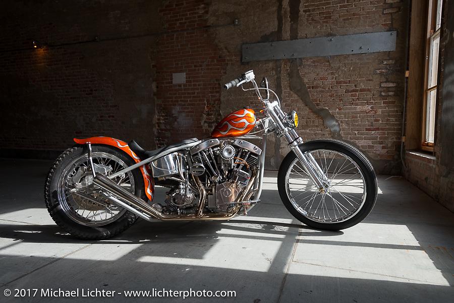 Ryan Gore's In Motion bike show custom Shovelhead at the Lone Star Rally. Galveston, TX. USA. Sunday November 5, 2017. Photography ©2017 Michael Lichter.