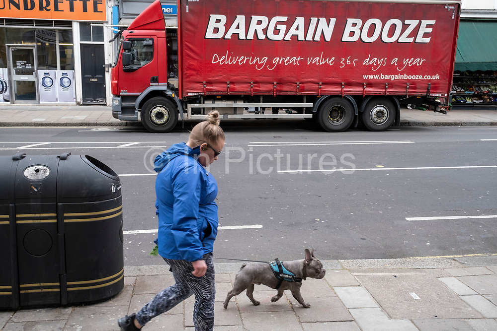 Bargain Booze delivery truck on 14th April 2021 in London, United Kingdom. Bargain Booze is a chain of off licence shops, that operates in the United Kingdom. Established in 1981 in Sandbach, it grew to 836 shops and established the Bargain Booze Select Convenience shop franchise.