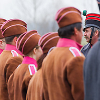 People dressed as Szekler soldiers in period dress attend the re-enactment of the historic battle against Austrian soldiers of the Habsburg dynasty in Tapiobicske, 80 km (50 miles) southeast of Budapest, Hungary on April 04, 2013. ATTILA VOLGYI