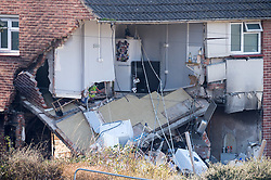 """© Licensed to London News Pictures. FILE PICTURE dated 24/02/2019 of house explosion. Today 23/03/2020 James Toogood has been jailed eight and a half years and Laura Hawkins has been jailed for 15 months. James Toogood, age 36 was found guilty at Bristol Crown Court of damaging property being reckless as to whether life was endangered when there was an explosion which caused £260,000 worth of damage to a house in Whitchurch Lane, Bristol. James Toogood, who has 14 previous convictions including robbery, was using butane to make a powerful cannabis derivative known as """"shatter"""". Toogood had admitted producing butane hash oil but said he was not doing so on February 23 2019, the date when there was an explosion at the house he was living in, a council flat at 264 Whitchurch Lane. Laura Hawkins, 39, was also found guilty of permitting a property to be used for the production of a controlled drug of Class B. At the house explosion in Whitchurch Lane, three people received minor injuries and were taken to hospital and much of the house was destroyed. A large trampoline was used to help some people escape. Photo credit: Simon Chapman/LNP."""