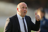 John Coleman, the Accrington Stanley manager giving a thumbs up as he arrives at the dugout before k/o. Skybet football league two play off semi final, 1st leg match, AFC Wimbledon v Accrington Stanley at the Cherry Red Records Stadium in Kingston upon Thames, Surrey on Saturday 14th May 2016.<br /> pic by John Patrick Fletcher, Andrew Orchard sports photography.
