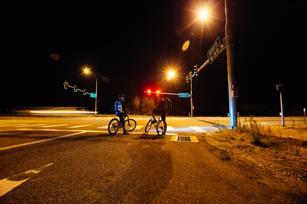 Waiting to cross Highway 2 near Leavenworth, Washington after a night ride.