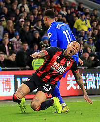 Bournemouth's Nathaniel Clyne (right) is tackled by Cardiff City's Josh Murphy during the Premier League match at the Cardiff City Stadium.