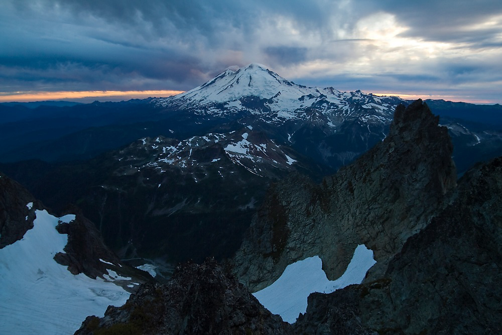 View of Mount Baker from Mount Shuksan, North Cascades National Park, Washington.