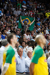 07.09.2014, Palacio de los deportes, Madrid, ESP, FIBA WM, Brasilien vs Argentinien, Achtelfinale, im Bild Brazil´s supporter and players listen to the national anthem // during FIBA Basketball World Cup Spain 2014 match between X and X at the Palacio de los deportes in Madrid, Spain on 2014/09/07. EXPA Pictures © 2014, PhotoCredit: EXPA/ Alterphotos/ Victor Blanco<br /> <br /> *****ATTENTION - OUT of ESP, SUI*****