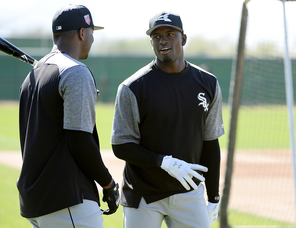 GLENDALE, ARIZONA - FEBRUARY 20:  Luis Robert #92 and Eloy Jimenez #74 of the Chicago White Sox prepare to bat during a spring training workout February 20, 2018 at Camelback Ranch in Glendale Arizona.  (Photo by Ron Vesely)  Subject:   Luis Robert; Eloy Jimenez