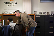 DETROIT, MI - OCTOBER, 30: Repurposed furniture at Shinola's corporate offices and factory in Detroit, Michigan, Thursday, October 30, 2014. (Photo by Jeffrey Sauger)