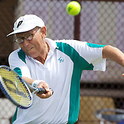 Bruce Burns, Australia, in action in the 65 Mens Singles during the 2009 ITF Super-Seniors World Team and Individual Championships at Perth, Western Australia, between 2-15th November, 2009.