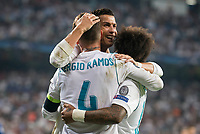 Real Madrid's Sergio Ramos, Cristiano Ronaldo and Marcelo during UEFA Champions League match between Real Madrid and Apoel at Santiago Bernabeu Stadium in Madrid, Spain September 13, 2017. (ALTERPHOTOS/Borja B.Hojas)
