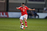 Helen Lander of Wales scores her teams 1st goal. UEFA Womens Euro qualifying match, Wales Women v Israel Women at Rodney Parade in Newport, South Wales on Thursday 15th September 2016.<br /> pic by Andrew Orchard, Andrew Orchard sports photography.