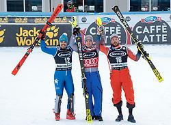 29.12.2017, Stelvio, Bormio, ITA, FIS Weltcup, Ski Alpin, alpine Kombination, Slalom, Herren, im Bild v.l. Peter Fill (ITA, 2. Platz), Alexis Pinturault (FRA, 1. Platz), Kjetil Jansrud (NOR, 3. Platz) // f.l. second placed Peter Fill of Italy, race winner Alexis Pinturault of France, third placed Kjetil Jansrud of Norway during the Slalom competition for the men's Alpine combination of FIS Ski Alpine World Cup at the Stelvio course, Bormio, Italy on 2017/12/29. EXPA Pictures © 2017, PhotoCredit: EXPA/ Johann Groder