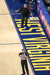 Jan 25, 2021; Morgantown, West Virginia, USA; West Virginia Mountaineers head coach Bob Huggins argues a call from the bench during the second half against the Texas Tech Red Raiders at WVU Coliseum. Mandatory Credit: Ben Queen-USA TODAY Sports