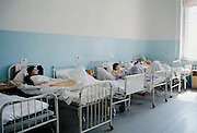 Patients in ward of hospital in St Petersburg, Russia