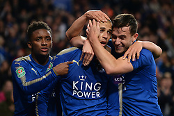 Leicester City's Islam Slimani (centre) celebrates his  goal with Demarai Gray (left) and Ben Chilwell (right)