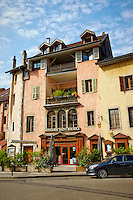 A view of Le Brasserie Saint-Maurice a restaurant specializing in business lunches and seminars, and their gorgeous Neo-Classic French building, Old Annecy, France.