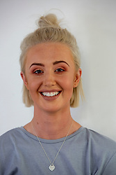 Pic of hairdresser Abbie Johnstone after her make-up session, the model for Stacey Whittaker, a mum-of-two who has set up her own beauty salon at Pouts & Pinups, Kirkcaldy. For London Money Desk.