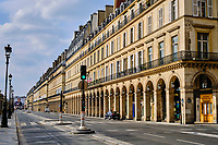France, Paris (75), la rue de Rivoli durant le confinement du Covid 19 // France, Paris, rue de Rivoli during the containment of Covid 19