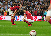 Football - 2018 / 2019 UEFA European Championships Qualifier - Group A: England vs. Czech Republic<br /> <br /> Dejected Cech players after a defletion for goal no 3 of a Sterling shot, at Wembley Stadium.<br /> <br /> COLORSPORT/ANDREW COWIE