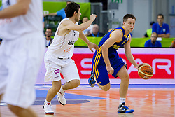 04.09.2013, Hala Tivoli, Ljublijana, SLO, Eurobasket EM 2013, Ukraine vs Belgien, im Bild Sam Van Rossom #5 of Belgium and Dmytro Zabirchenko #11 of Ukraine // during the Eurobasket EM 2013 match between Ukraine an Belgium at Hala Tivoli in Ljubljana, Slowenia on 2013/09/04. EXPA Pictures © 2013, PhotoCredit: EXPA/ Sportida/ Urban Urbanc<br /> <br /> ***** ATTENTION - OUT OF SLO *****