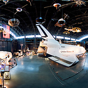 Space Shuttle Enterprise on display in the space wing of the Air and Space Museum of the Smithsonian in Dulles near Washington DC.