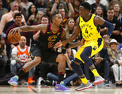 April 29, 2018 - Cleveland, OH, USA - Cleveland Cavaliers guard J.R. Smith works the ball on Indiana Pacers guard Victor Oladipo in the second quarter of Game 7 of the Eastern Conference First Round series on Sunday, April 29, 2018 at Quicken Loans Arena in Cleveland, Ohio. The Cavs won the game, 105-101. (Credit Image: © Leah Klafczynski/TNS via ZUMA Wire)