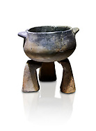 Neolithic terracotta cook pot on stand. 6000 BC. Catalhoyuk Collections. Museum of Anatolian Civilisations, Ankara .<br /> <br /> If you prefer you can also buy from our ALAMY PHOTO LIBRARY  Collection visit : https://www.alamy.com/portfolio/paul-williams-funkystock/prehistoric-neolithic-art.html - Type Catalhoyuk into the LOWER SEARCH WITHIN GALLERY box. Refine search by adding background colour, place, museum etc.<br /> <br /> Visit our PREHISTORIC PLACES PHOTO COLLECTIONS for more  photos to download or buy as prints https://funkystock.photoshelter.com/gallery-collection/Prehistoric-Neolithic-Sites-Art-Artefacts-Pictures-Photos/C0000tfxw63zrUT4