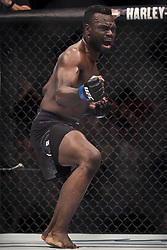 September 16, 2017 - Pittsburgh, Pennsylvania, USA - September 16, 2017: Uriah Hall celebrates after defeating Krzysztof Jotko in the second round during UFC Fight Night at PPG Paints Arena in Pittsburgh, Pennsylvania. (Credit Image: © Scott Taetsch via ZUMA Wire)