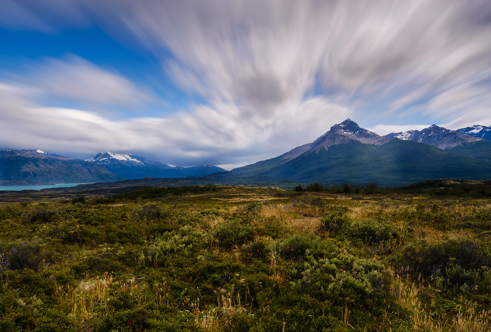 NATIONAL PARK TORRES DEL PAINE, CHILE - CIRCA FEBRUARY 2019: View of the mountain range and landscape in Torres del Paine National Park, Chile.