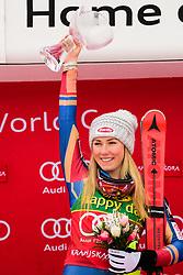 January 7, 2018 - Kranjska Gora, Gorenjska, Slovenia - Mikaela Shiffrin of United States of America on podium celebrating her victory at the Slalom race at the 54th Golden Fox FIS World Cup in Kranjska Gora, Slovenia on January 7, 2018. (Credit Image: © Rok Rakun/Pacific Press via ZUMA Wire)