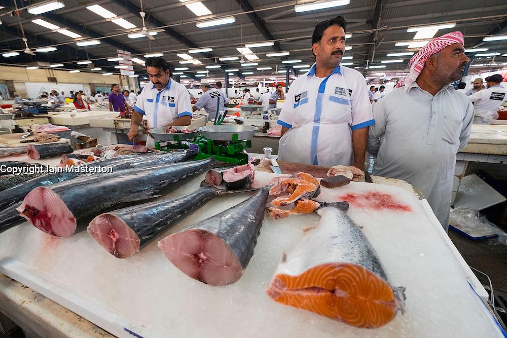 Fish for sale on stall at Dubai fish market in Deira United Arab Emirates
