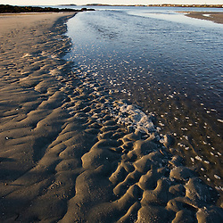 Low tide at the outlet of the Little River in Biddeford, Maine.  Timber Point.  Sand ripples.