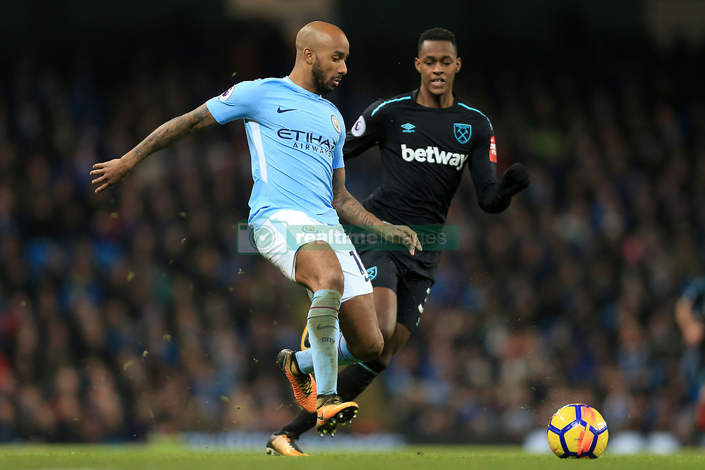 3rd December 2017 - Premier League - Manchester City v West Ham United - Fabian Delph of Man City battles with Edimilson Fernandes of West Ham - Photo: Simon Stacpoole / Offside.